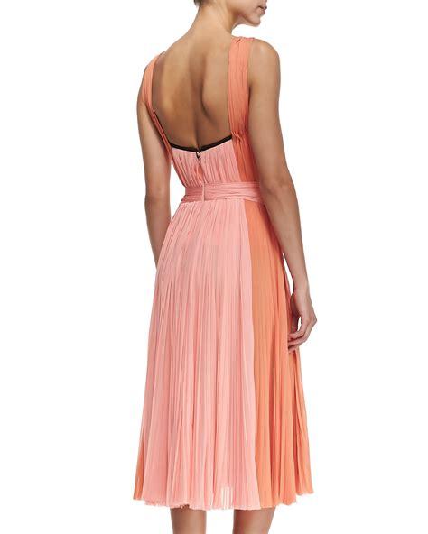 draped bodice dress j mendel a line dress w draped ruched bodice in orange