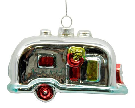 silver rv cer christmas holiday ornament blown glass