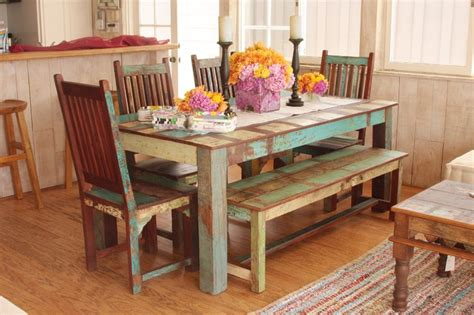 Eclectic Dining Room Sets | indian reclaimed wood dining set mediterranean dining