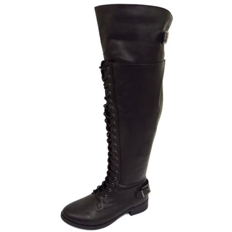 biker riding boots womens black extra wide calf fit lace up biker knee high