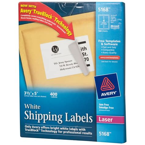 5 X 3 1 2 Quot Avery White Labels 5168 Kelly Paper Avery 1 5 X 1 5 Label Template