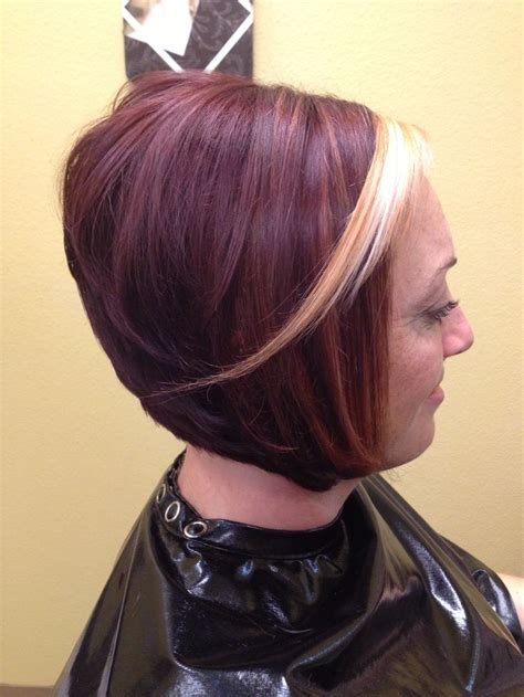 haircuts and color albany oregon bold red colored a line haircut with platinum accent bangs