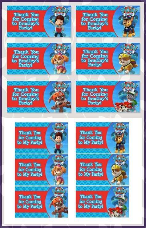 printable paw patrol birthday decorations free printable paw patrol goody bag tags dark paw theme
