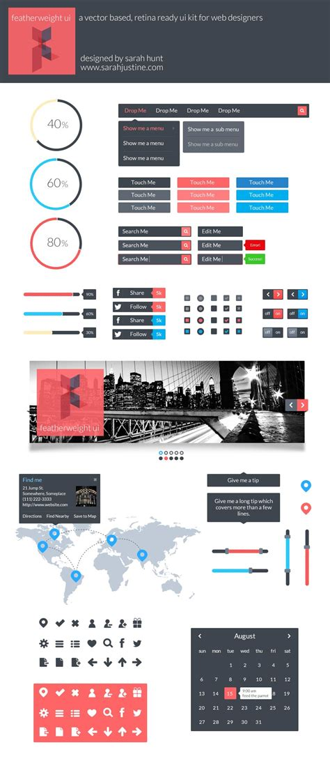 best layout vector featherweight ui a free vector based and retina ready