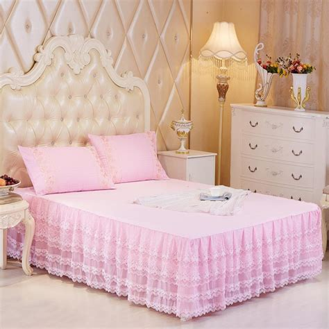 purple bed skirt hot sale bed skirts pink beige purple princess lace