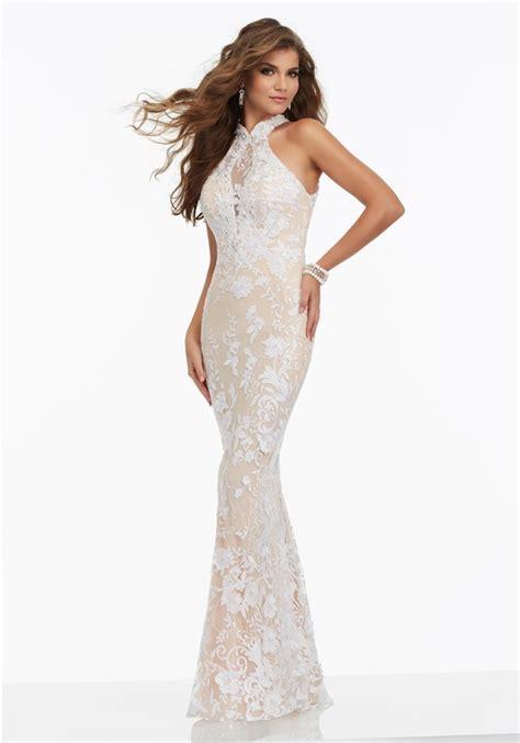 Back Halter Slim Top Diskon slim halter open back white lace beaded prom dress