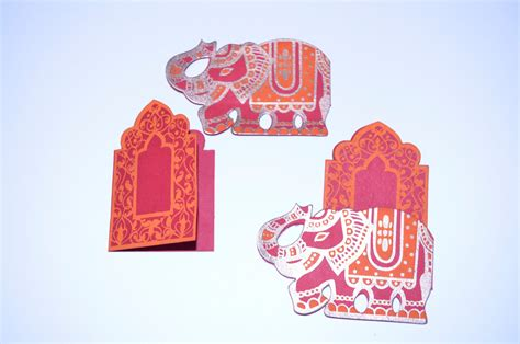 indian wedding card sle 2 elephant throne mini cards place card set by penandfavor on zibbet