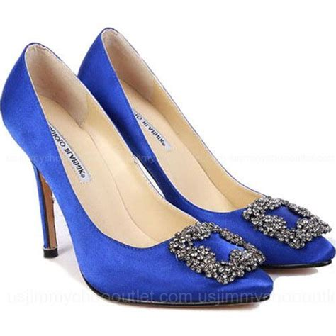 Manolo Blahnik 263 7 manolo blahnik something blue satin and the city shoes