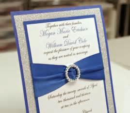 wedding invitations royal blue stunning diy royal blue silver glitter wedding by