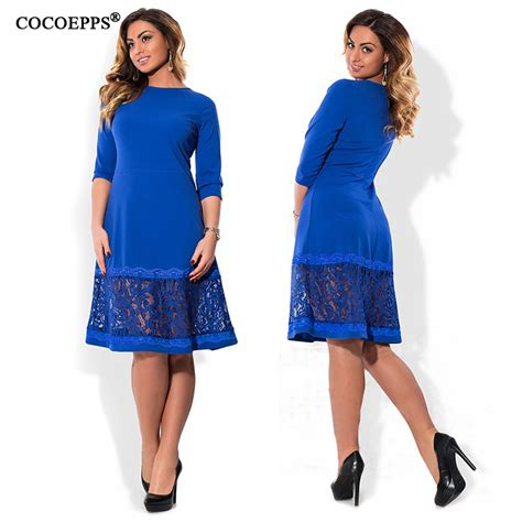 Black Grid Dress Size L cocoepps l 6xl blue dress big sizes autumn o neck dresses plus size knee