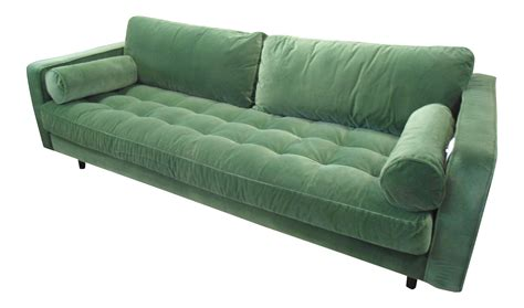 green velvet tufted sofa grass green velvet tufted sofa chairish