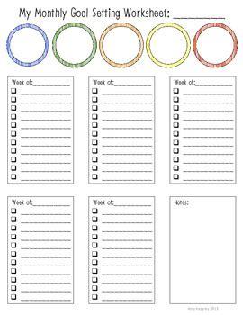 monthly goal setting worksheet amy keppley teachers