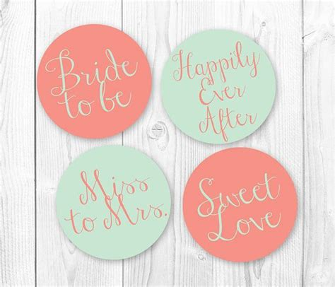 bridal shower cupcake toppers printables bridal shower cupcake toppers mint coral diy printable cupcake topers instant