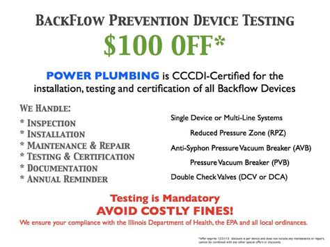 Power Plumbing Chicago by Special Offer 100 Backflow Prevention Device Testing