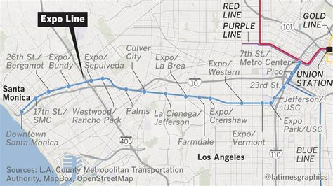 expo line map why the expo line to santa marks a of progress in american cities la times