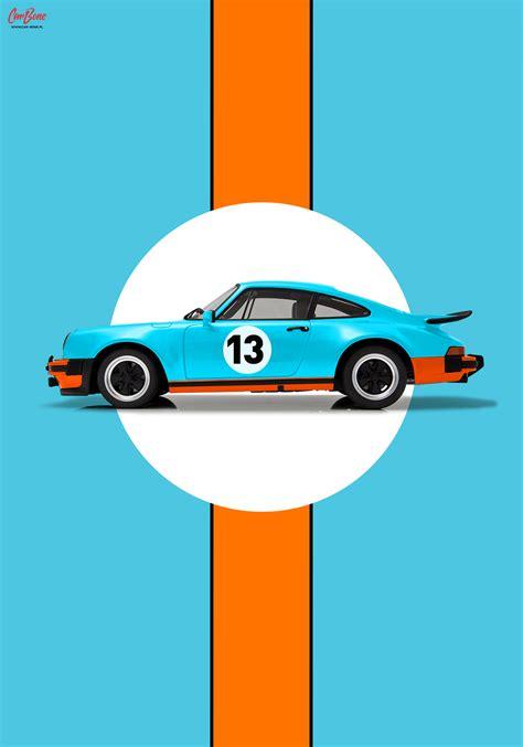 porsche poster porsche 911 930 gulf livery poster vertical car bone pl