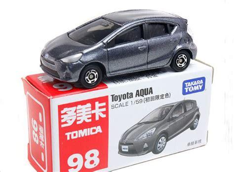 Tomica No 98 Toyota Aqua gray orange tomy tomica no 98 diecast toyota aqua
