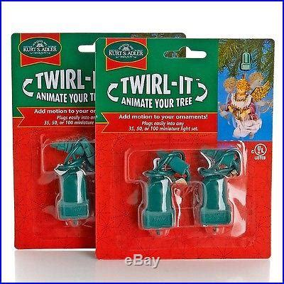 set of 4 kurt adler twirl it motorized ornament spinners