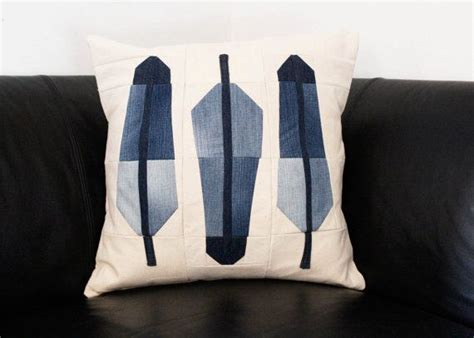 recycle feather pillows feather pillow modern quilt pillow recycled denim