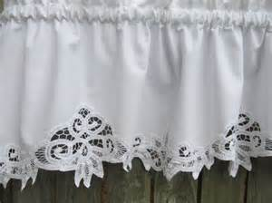 White Cotton Valance Curtains Country Battenburg Lace Curtain Valance In White By Homestyled