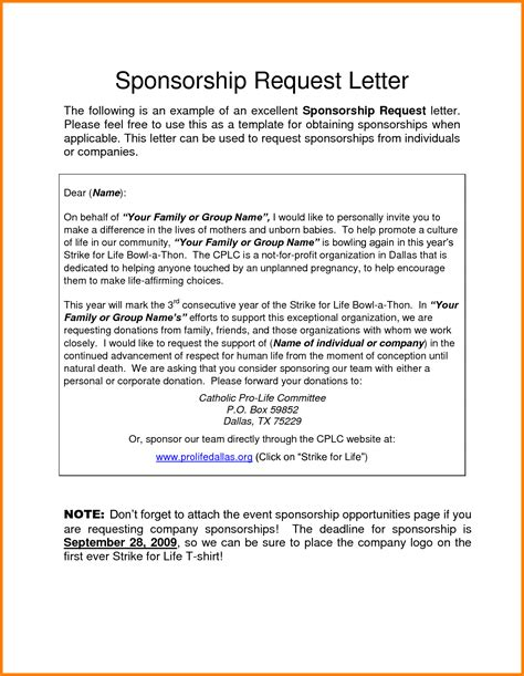 Sponsorship Letter By Company 8 Letter Of Request For Sponsorship Monthly Bills Template