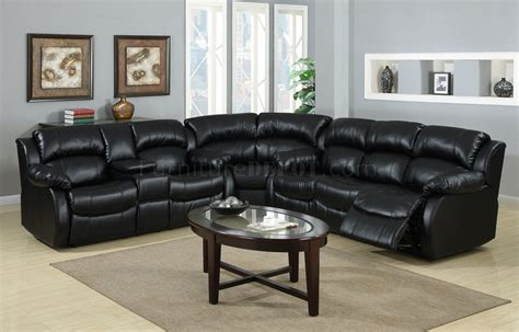 Black Leather Reclining Sectional Sofa 8000 Reclining Sectional Sofa In Black Bonded Leather