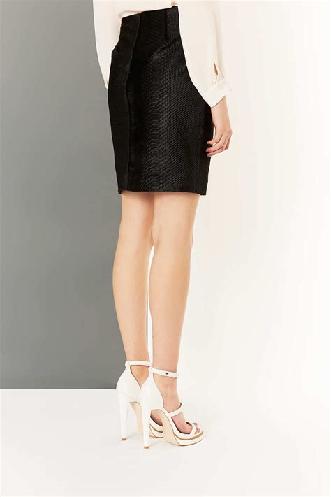 topshop leather pony effect pencil skirt by boutique in