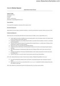 Resume Sle For Construction Worker by Cover Letter For Residential Child Care Worker Cover