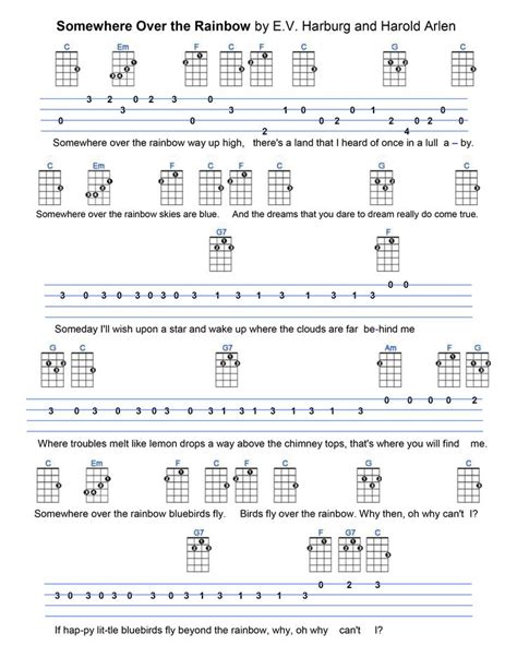 strumming pattern for you re beautiful somewhere over the rainbow ukulele tabs pinterest