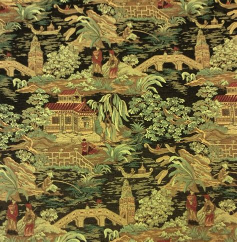 Shopping Websites For Home Decor by Asian Toile Tapestry Fabric Heavy Weight Upholstey Fabric In Sage Burgundy Browns And Black Kr100