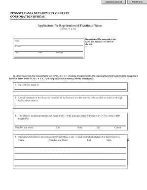 Pennsylvania Search By Name Pa Fictitious Name Registration Net Fill Printable Fillable Blank