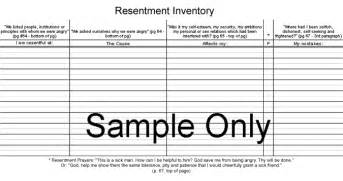 fourth step inventory worksheets davezan