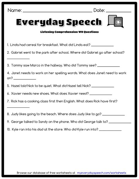 Listening Comprehension Worksheets by Listening Comprehension Wh Questions Everyday Speech