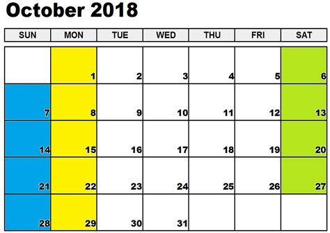october 2018 calendar template free october 2018 printable calendar template free