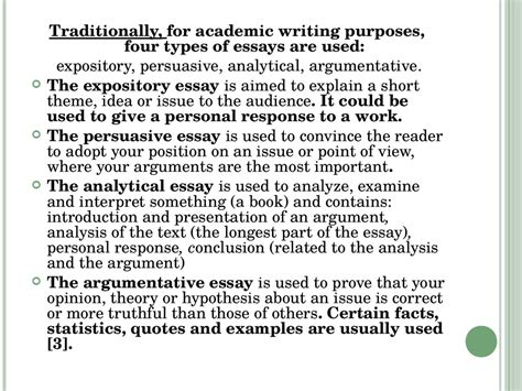 types of essay which types of essays can come in the ma english