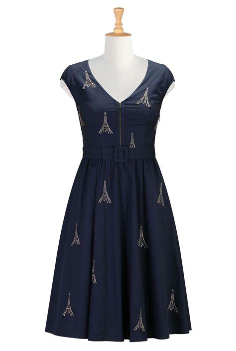 Dress Eiffel embroidery poplin dress