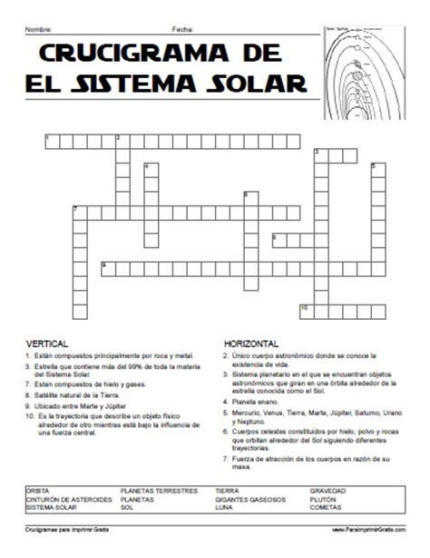 Ciencia De 10 Grado Ejercicios | crucigrama del sistema solar para imprimir gratis