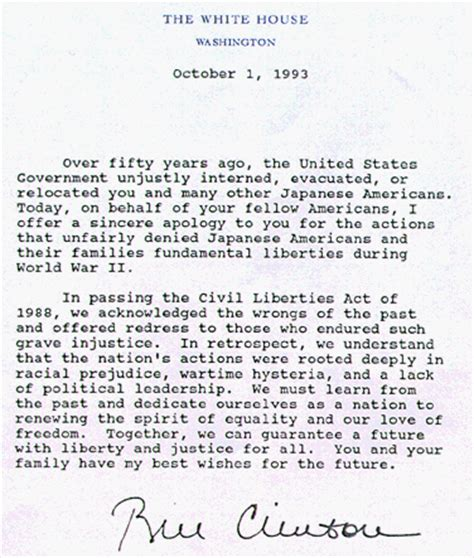 Letter To Japan Civil Liberties Act Of 1988