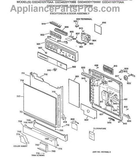 ge profile dishwasher diagram ge wd8x229 door gasket appliancepartspros