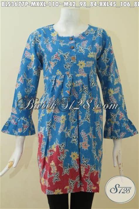 Blus Batik Biru Xl produk blus batik warna biru kombinasi merah motif bunga