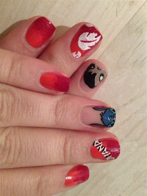 disney pattern nails done by me another lilo and stitch disney design nails