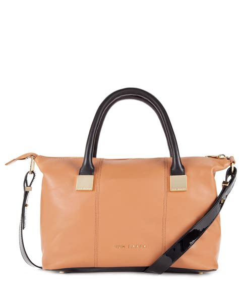 Ted Square Brown ted baker frimlor metal square leather tote bag in brown
