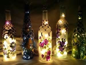 Painted wine bottle lighting ideas