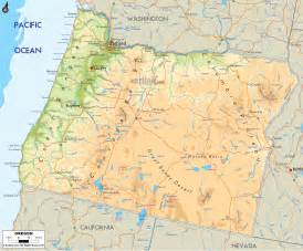 physical map of oregon ezilon maps