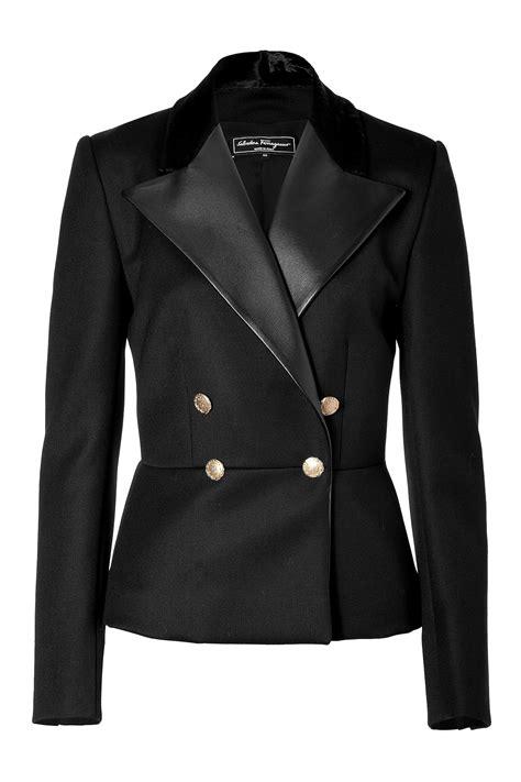 lapel wool jacket lyst ferragamo wool jacket with fur leather lapels in black