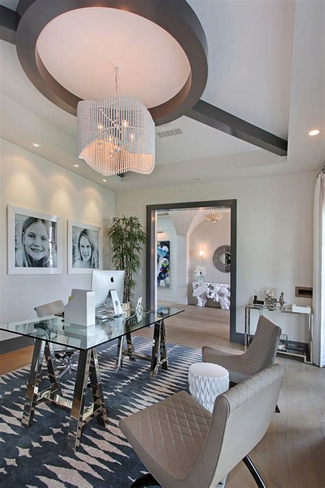 Office Chandeliers California Family Home With Transitional Coastal Interiors