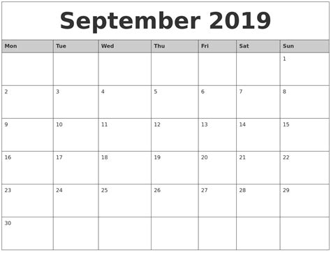printable calendar monday start image gallery sept 2019 calendar
