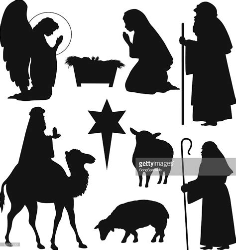 printable nativity scene silhouette christmas nativity silhouettes vector art getty images