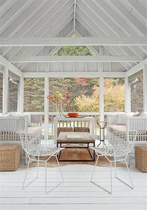 sunroom  white truss ceiling cottage deckpatio