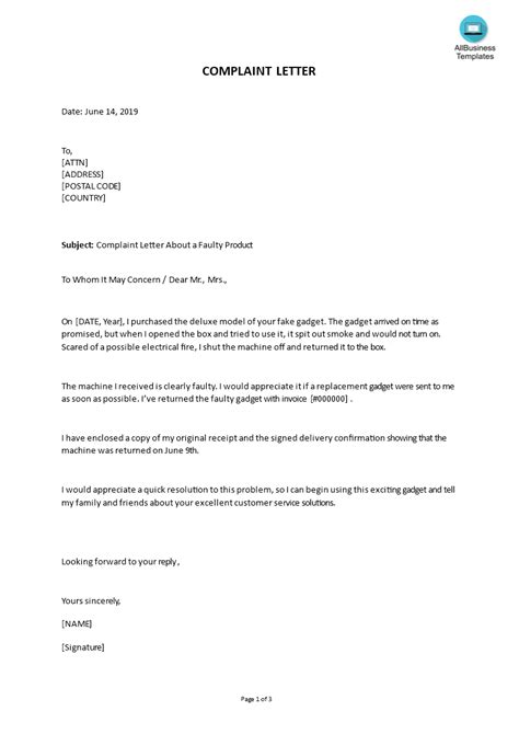 sample complaint letter faulty product templates